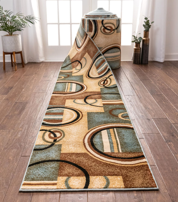 Arcs & Shapes Custom Size Runner Modern Light Blue 27 Inch Wide x Choose Your Length Hallway Runner Rug