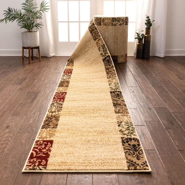 Vane Willow Damask Custom Size Runner Transitional Beige 27 Inch Wide x Choose Your Length Hallway Runner Rug