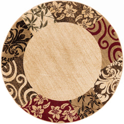 Vane Willow Damask Beige Transitional Round Rug