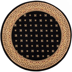 Hudson Terrace Black Traditional Round Rug
