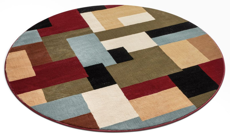 River Red Modern Round Rug