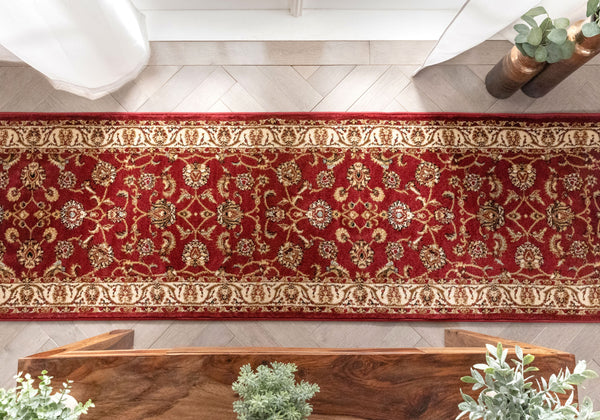 Sarouk Custom Size Runner Traditional Red 27 Inch Wide x Choose Your Length Hallway Runner Rug