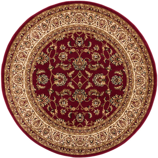 Sarouk Red Traditional Round Rug