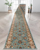 Sarouk Custom Size Runner Traditional Light Blue 27 Inch Wide x Choose Your Length Hallway Runner Rug