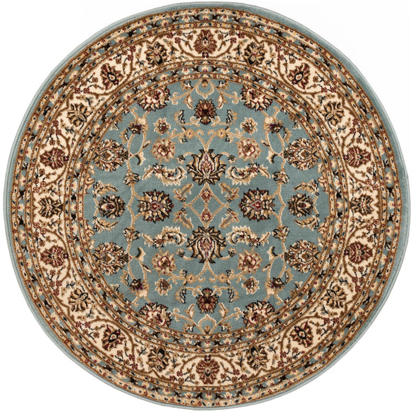 Sarouk Light Blue Traditional Round Rug