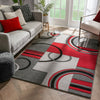 Galaxy Waves Grey Red Modern Geometric Rug