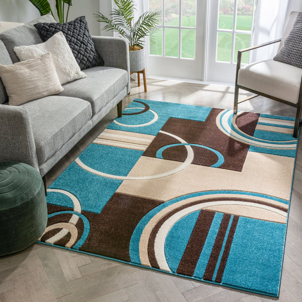 Galaxy Waves Blue Modern Rug