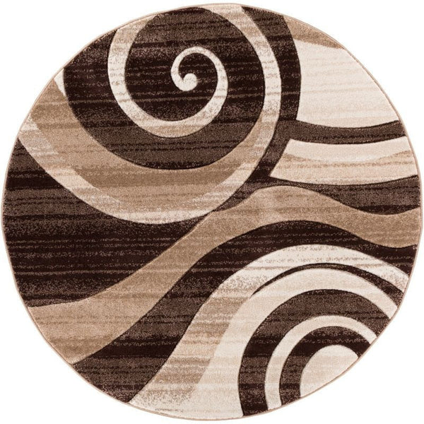 Whirlwind Brown Modern Round Rug Well Woven