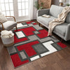 Imagination Squares Red Modern Rug