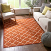 Brooklyn Trellis Red Modern Non Slip Washable Rug