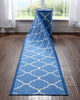 Brooklyn Trellis Custom Size Runner Modern Blue 22 Inch Wide x Choose Your Length Machine Washable Hallway Runner Rug