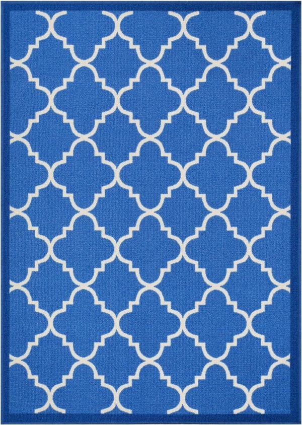 Brooklyn Trellis Blue Modern Non Slip Washable Rug