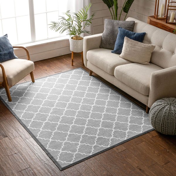 Brooklyn Trellis Grey Modern Non Slip Washable Rug