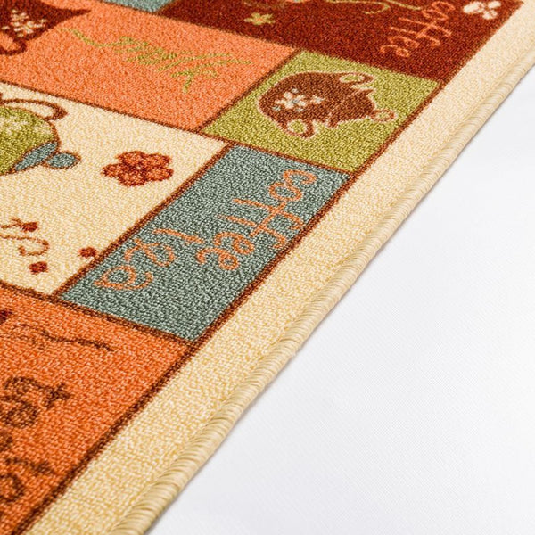 Cafe Beige Kitchen NonSlip Washable Rug