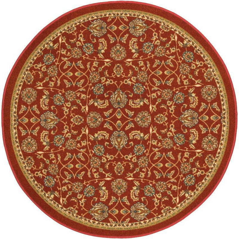 Tabriz Red Traditional Non Slip Washable Round Rug