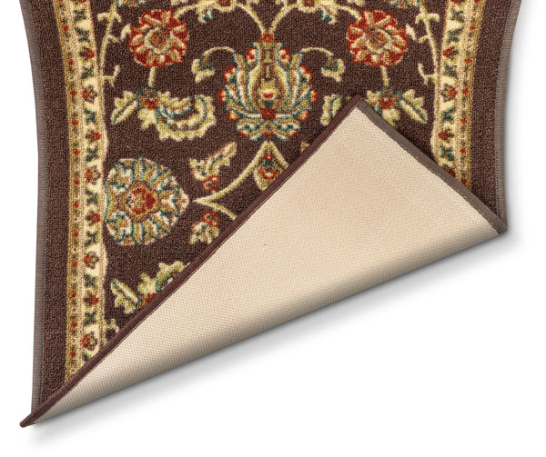 Tabriz Custom Size Runner Traditional Brown 22 Inch Wide x Choose Your Length Machine Washable Hallway Runner Rug