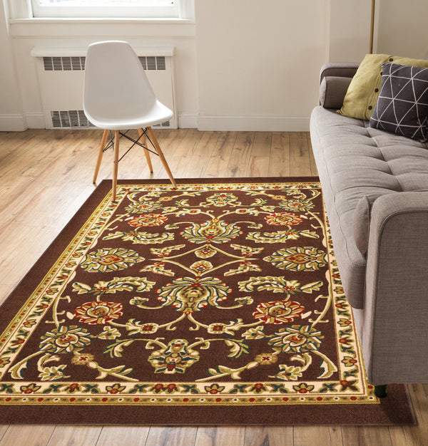 Tabriz Brown Traditional Non Slip Washable 5' x 7' Area Rug
