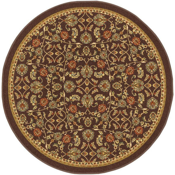 "Tabriz Brown Traditional Non Slip Washable 4'3"" Round Rug"
