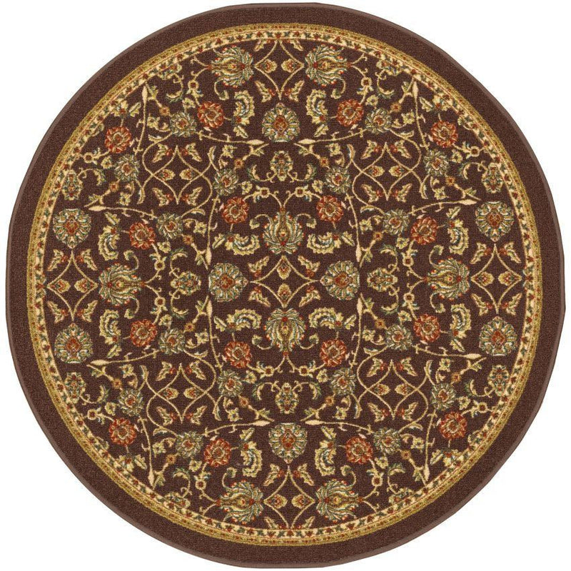 Tabriz Brown Traditional Non Slip Washable Round Rug