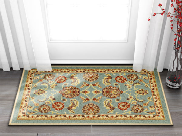 Tabriz Blue Traditional Non Slip Washable Rug