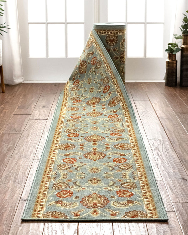 Tabriz Custom Size Runner Traditional Blue 22 Inch Wide x Choose Your Length Machine Washable Hallway Runner Rug