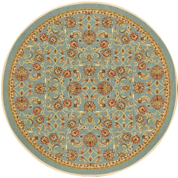 Tabriz Blue Traditional Non Slip Washable Round Rug