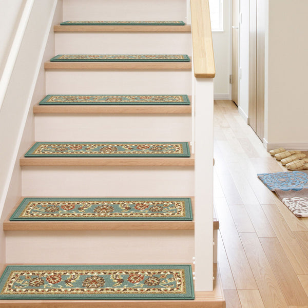 "Tabriz Traditional Blue Non Slip 9"" x 31"" Stair Tread (Set of 7)"