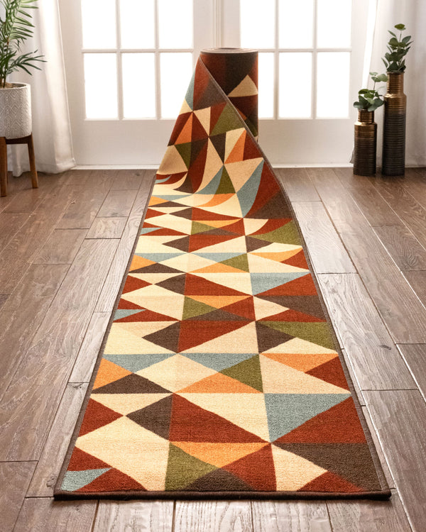 Vector Custom Size Runner Geometric Red 22 Inch Wide x Choose Your Length Machine Washable Hallway Runner Rug