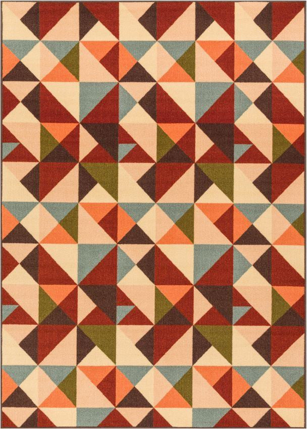 Vector Red Geometric Non Slip Washable Rug