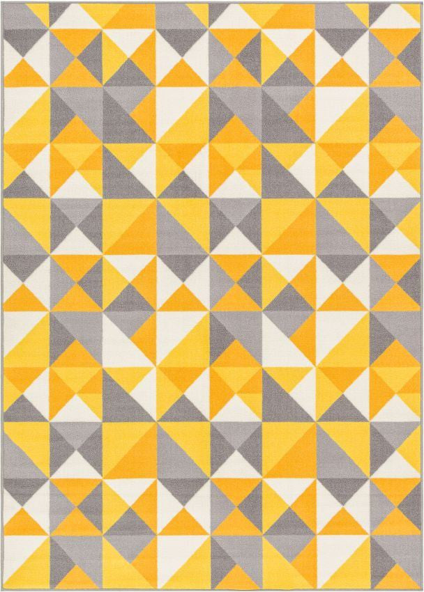Vector Yellow Geometric Non Slip Washable Rug