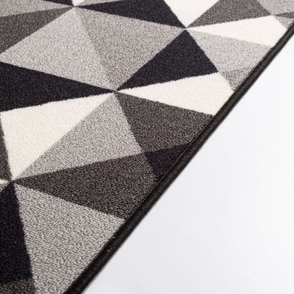 Vector Grey Geometric Non Slip Washable Rug