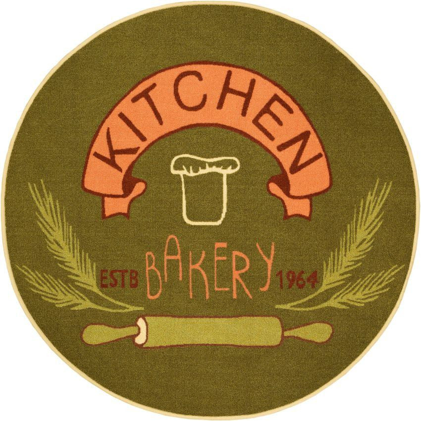 Kitchen Bakery Green Kitchen NonSlip Washable Round Rug