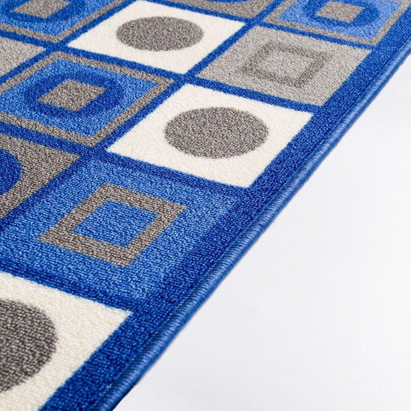 Kensington Blue Geometric Non Slip Washable Rug