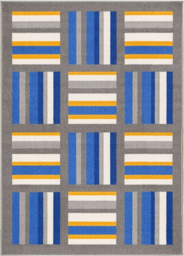 Felixtowe Multi Geometric Non Slip Washable Rug