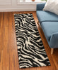 Safari Zebra Black Contemporary Shag Rug