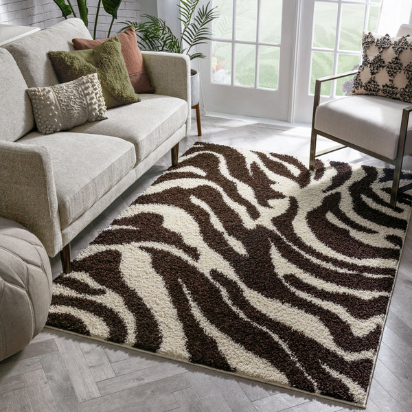 Zebra Brown Animal Print Non Slip Washable Rug