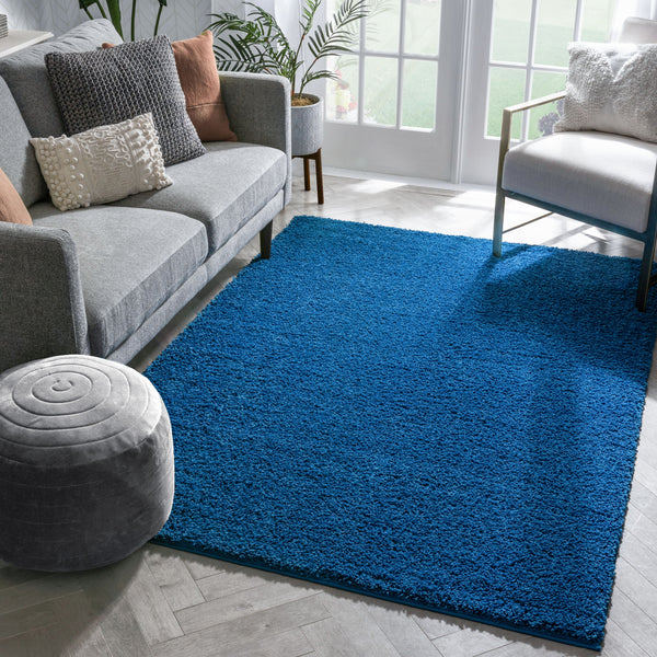 Plain Dark Blue Modern Solid Rug