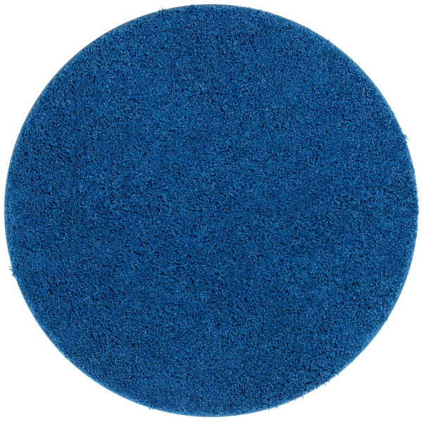Plain Dark Blue Modern Solid Round Rug