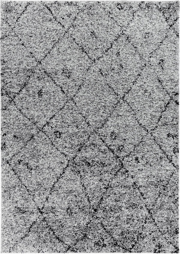 "Moroccan Lattice Grey Modern Rug 2' x 7'3"" Runner"