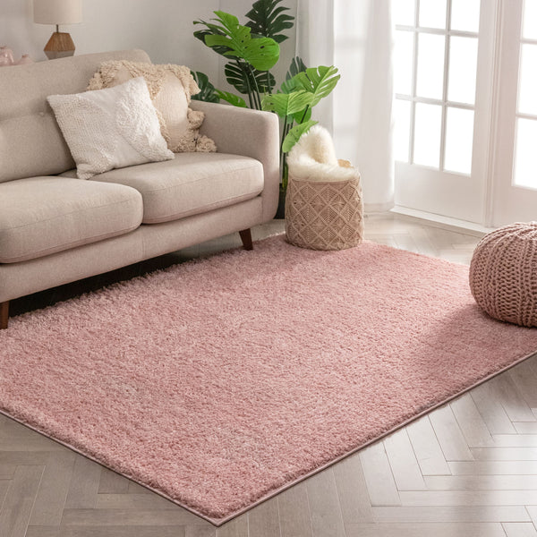 Piper Solid Pink Shag Rug
