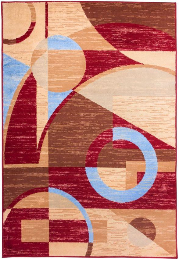 "Riga Circles Red Abstract 3'3"" x 5' Rug"