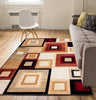 "Sensation Squares Red Geometric 7'10"" x 9'10"" Rug"