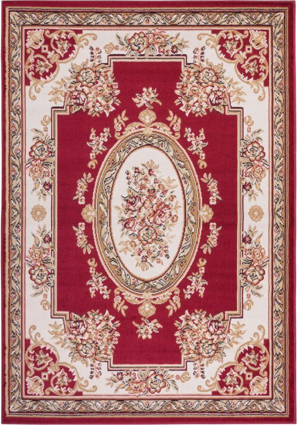 Medallion Centre Red Traditional Rug Well Woven