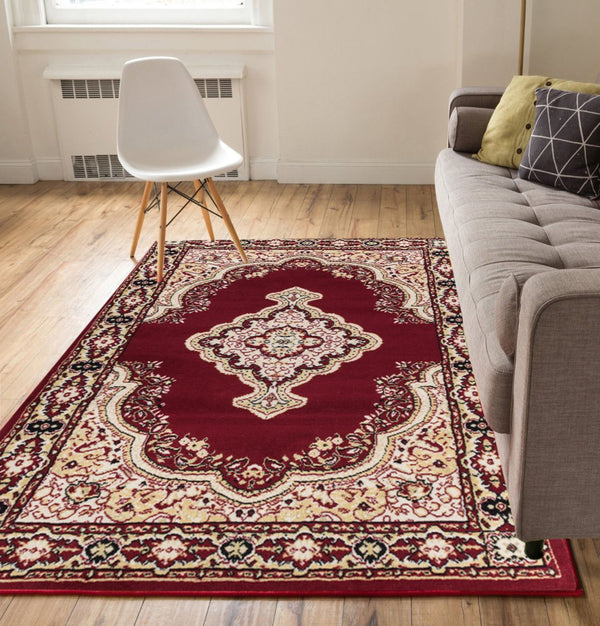 "Tehran Traditional Red Traditional 7'10"" x 9'10"" Rug"