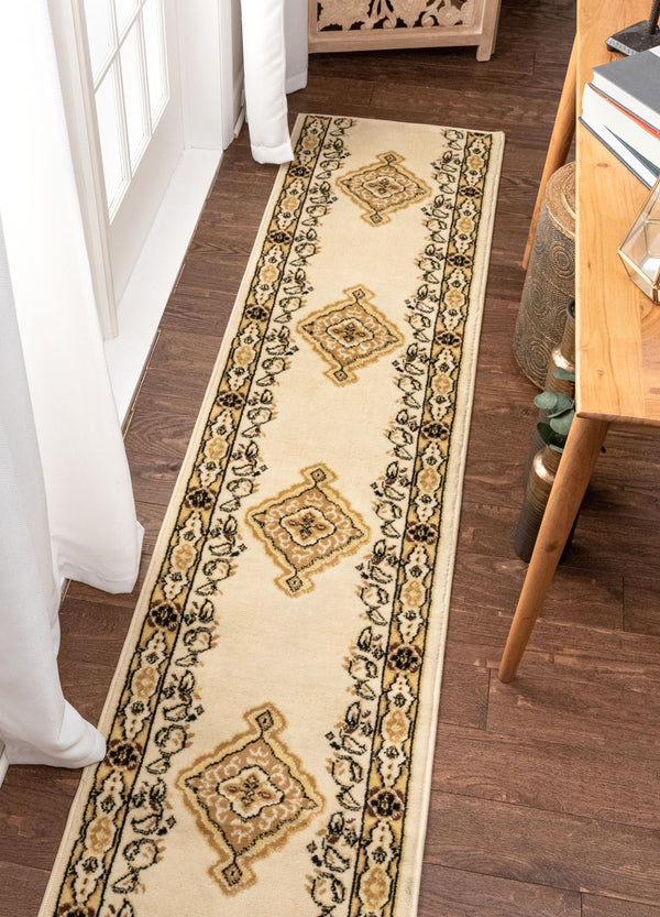 Tehran Custom Size Runner Traditional Ivory 24 Inch Width x Choose Your Length Hallway Runner Rug