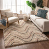 Macie Cream Abstract Wavy Stripes Shag Rug
