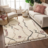 Silvie Ivory Tribal Nomadic Stripes Shag Rug By Chill Rugs
