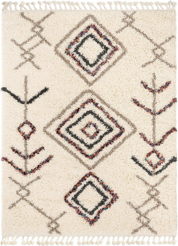 Collette Ivory Tribal Nomadic Diamond Shag Rug By Chill Rugs