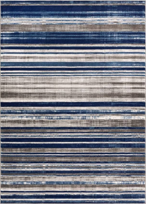 Signature Stripes Blue Modern Distressed Rug