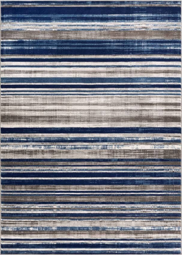 Signature Stripes Blue Modern Distressed Rug Well Woven